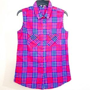 Cotton On Plaid Flannel Sleeveless Button Shirt S